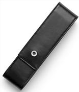 Graf Von Faber-Castell Klasik Pürüzsüz Siyah Deri Kalem Kılıfı İkili
