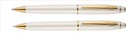 Scrikss Noble35 İnci Beyaz Gövde / Parlak Altın Kaplama Aksam Tükenmez Kalem + M.Kurşun Kalem Set