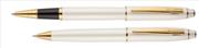 Scrikss Noble35 İnci Beyaz Gövde / Parlak Altın Kaplama Aksam Roller Kalem + M.Kurşun Kalem Set
