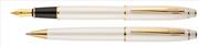 Scrikss Noble35 İnci Beyaz Gövde / Parlak Altın Kaplama Aksam Dolma Kalem + Tükenmez Kalem Set