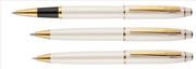 Scrikss Noble35 İnci Beyaz / Altın Kaplama Roller Kalem + Tükenmez Kalem + M.Kurşun Kalem Set