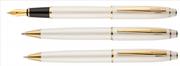 Scrikss Noble35 İnci Beyaz / Altın Kaplama Dolma Kalem + Tükenmez Kalem + M.Kurşun Kalem Set