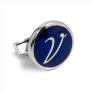 Orovento Letters 925 Gümüş/Koyu Mavi Mine Tek Kol Düğmesi - (V) Harfi