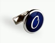 Orovento Letters 925 Gümüş/Koyu Mavi Mine Tek Kol Düğmesi - (O) Harfi