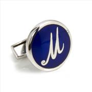 Orovento Letters 925 Gümüş/Koyu Mavi Mine Tek Kol Düğmesi - (M) Harfi