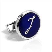 Orovento Letters 925 Gümüş/Koyu Mavi Mine Tek Kol Düğmesi - (J) Harfi