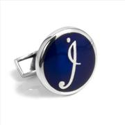 Orovento Letters 925 Gümüş/Koyu Mavi Mine Tek Kol Düğmesi - (İ) Harfi
