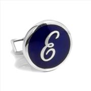 Orovento Letters 925 Gümüş/Koyu Mavi Mine Tek Kol Düğmesi - (E) Harfi