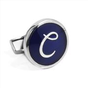 Orovento Letters 925 Gümüş/Koyu Mavi Mine Tek Kol Düğmesi - (C) Harfi