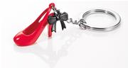 TROIKA Carolina Kırmızı Topuklu Ayakkabı ve Siyah Kurdela Takı Tasarım Anahtarlık