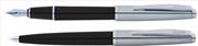 Scrikss Metropolis78 Siyah Akrilik-Çelik Dolma Kalem + Tükenmez Kalem Set