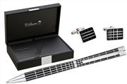Waldmann Xetra 925 SomGümüş Siyah Lake Eşsiz X-style işlemeli Tükenmez kalem + Kol Düğmesi Hediye Takım