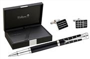 Waldmann New Tango Siyah Lake Kaplama Yüzük Işlemeli Kapak 925 Som Gümüş Roller Kalem + Kol Düğmesi Hediye Takım