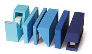 Lexon Buro Hesap Makinesi-Zımba-Delgeç-Bantlık-LCD Takvim 5 Parçalı Büro Seti - Mavi