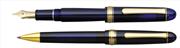 Platinum 3776 Century Vitray Cam Mavisi/Altın Dolma Kalem + Tükenmez kalem