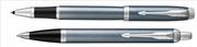 Parker IM Metal Fırça Darbeli Mavi-Gri/Krom Roller Kalem + Tükenmez Kalem