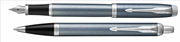 Parker IM Metal Fırça Darbeli Mavi-Gri/Krom Dolma Kalem + Tükenmez Kalem