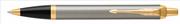 Parker IM Metal Fırça Darbeli Krom/Altın Tükenmez Kalem
