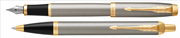Parker IM Metal Fırça Darbeli Krom/Altın Dolma Kalem + Tükenmez Kalem