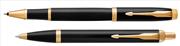 Parker IM Lake Siyah/Altın Roller Kalem + Tükenmez Kalem