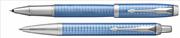 Parker IM Premium Chrome Grafik Kare Gravürlü Mavi Roller Kalem + Tükenmez Kalem
