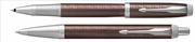 Parker IM Premium Chrome Hekzagonal Metalik Kahve Roller Kalem + Tükenmez Kalem