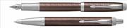 Parker IM Premium Chrome Hekzagonal Metalik Kahve Dolma Kalem + Tükenmez Kalem