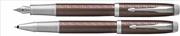 Parker IM Premium Chrome Hekzagonal Metalik Kahve Dolma Kalem + Roller Kalem