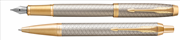Parker IM Premium Warm Silver/Gold Çapraz Gravürlü Dolma Kalem + Tükenmez Kalem