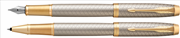 Parker IM Premium Warm Silver/Gold Çapraz Gravürlü Dolma Kalem + Roller Kalem