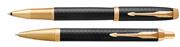 Parker IM Premium Matte Black/Gold Roller Kalem + Tükenmez Kalem