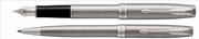 PARKER Sonnet Mat Fırça Darbeli Çelik/Paladyum Dolma Kalem + Tükenmez Kalem