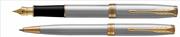 PARKER Sonnet Mat Fırça Darbeli Çelik/Altın Dolma Kalem + Tükenmez Kalem