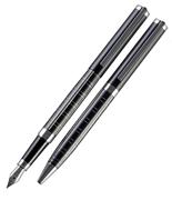 Cordial Gentle Siyah Kare Desen Dolma kalem + Tükenmez kalem + Hediye Kutu