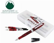 Monteverde Monza Set 3 - Red Clear Dolma Kalem Fine Uç-Medium Uç-Omniflex(Esnek Uç)