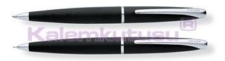 CROSS ATX Mat Siyah/Parlak Krom Tükenmezkalem + 0.7mm M.Kurşun Kalem Set<br>