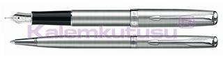 PARKER SONNET RD<br>Saten Krom/Çelik Dolmakalem + Tükenmezkalem Set<br>