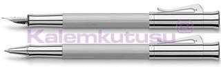 Graf von Faber-Castell Guilloche Desen Rodyum Dolma Kalem + Roller Kalem Set<br>