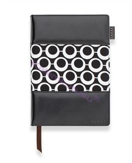 Cross Mod Journals Medium(A5) Çizgili Defter Siyah-Beyaz Kumaş/Deri (Kalem Hediye)