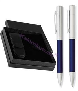 CROSS by FranklinCovey Parlak Krom/Mavi Tükenmez + 0.9 M.Kurşun Kalem + Deri İkili Kalem Kılıfı Hediye Set<br><img src=resim/isyaz.gif border=0/>