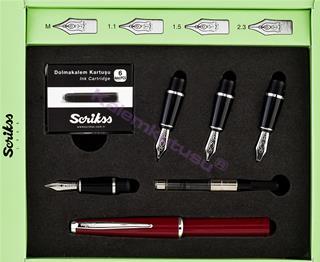 Scrikss 33 Calligraphy Kesik Uçlu Dolma Kalem 4lü Set - Bordo