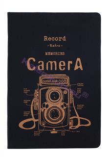 "Scrikss ""RETRO CAMERA YELLOW"" Kumaş Kaplı Özel Ciltli Düz Notebook - 18x25cm"