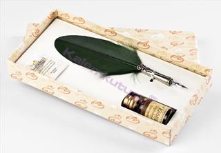 Bortoletti Fonderia Artistica Koyu Yeşil Tüylü / Gümüş Divit Uçlu Kalem + Mürekkep