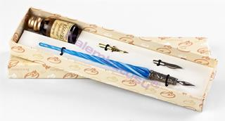 Bortoletti Murano Camı Mavi/Beyaz Burgulu Gövde / Gümüş Divit Uçlu Kalem + İki Uç + Mürekkep Set