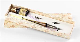 Bortoletti Murano Camı Altın Varaklı-Siyah Camaltı işlemeli Gövde / Gümüş Divit Uçlu Kalem + İki Uç + Mürekkep Set