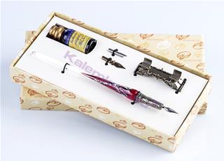Bortoletti Murano Camı Gümüş Varaklı Kırmızı Gövde/Gümüş Divit Kalem + Kalem Koyma Aparatı + Uç + Mürekkep