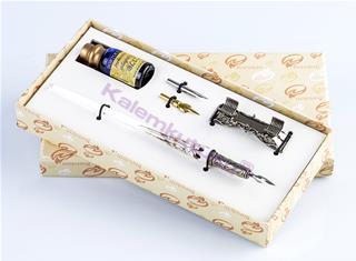 Bortoletti Murano Camı Gümüş Varaklı Beyaz Gövde/Gümüş Divit Kalem + Kalem Koyma Aparatı + Uç + Mürekkep