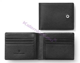 Graf Von Faber-Castell Saffiano Kabartmalı Siyah Deri Yatay Kredi Kartı Cüzdanı 11.5x9cm