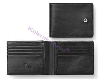Graf Von Faber-Castell Klasik Pürüzsüz Siyah Deri Yatay Kredi Kartı Cüzdanı 11.5x9cm