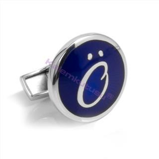 Orovento Letters 925 Gümüş/Koyu Mavi Mine Tek Kol Düğmesi - (Ö) Harfi